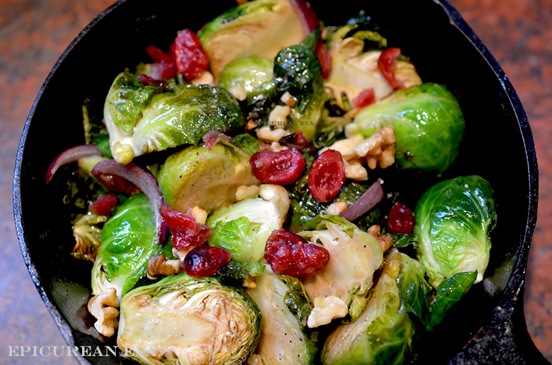 Roasted Brussels Sprouts with Dried Cranberries, Walnuts and ...